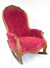 Red velvet upholstered rocker after